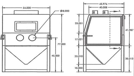 Raptor Blaster 5446 Industrial Blast Cabinet Dimensions